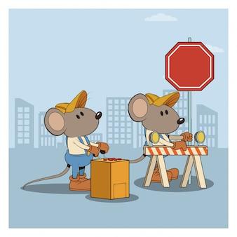 Sob a construção mouses desenhos animados dos trabalhadores