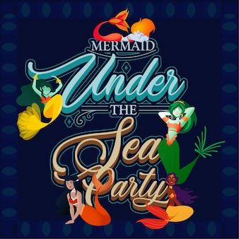 Sob a festa de convite do mar