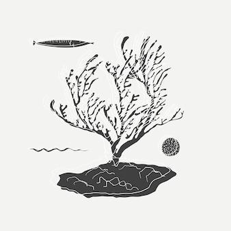 Sob a ilustração do mar