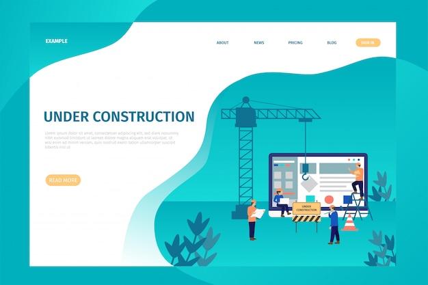 Sob a página de destino da construção para o site.