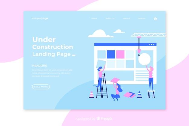 Sob a página de destino da construção