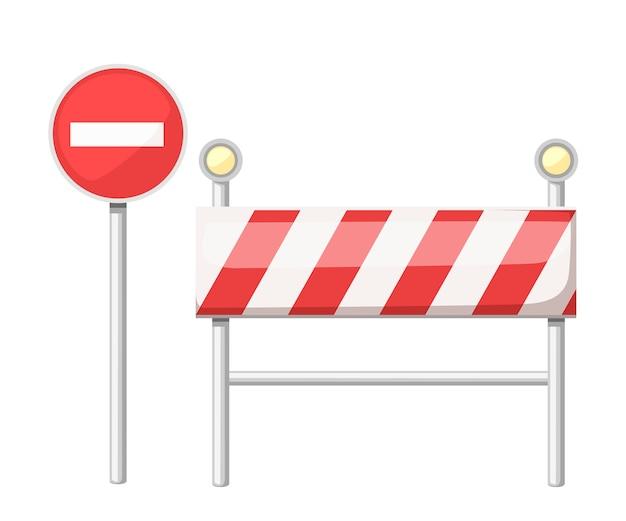 Sob a placa de construção. sinal de estrada vermelho com lâmpada.