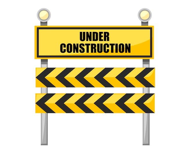 Sob a placa de construção. sinal de trânsito amarelo com lâmpada.
