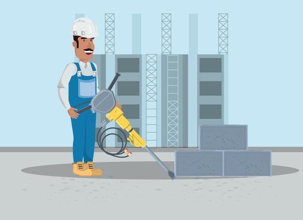 Sob a zona de construção com o construtor segurando uma broca de piso