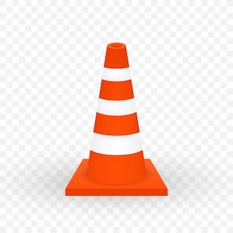 Sob barreira de construção. cone de trânsito realista.