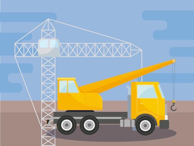 Sob caminhão de guindaste de construção