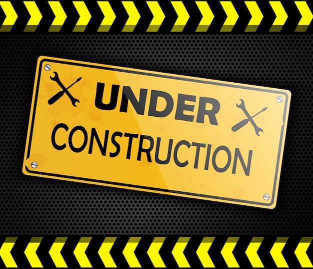 Sob construção sinal fundo preto