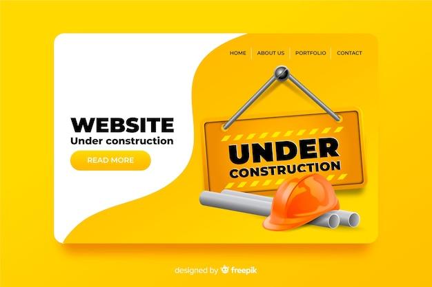 Sob design plano de página de destino de construção