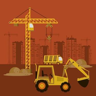 Sob edifícios e máquinas de construção