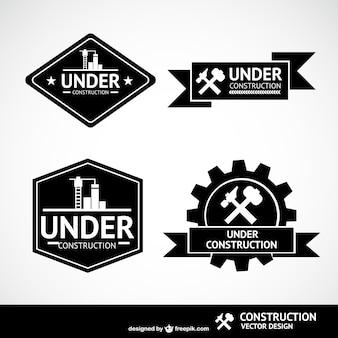 Sob etiquetas de vetores de construção