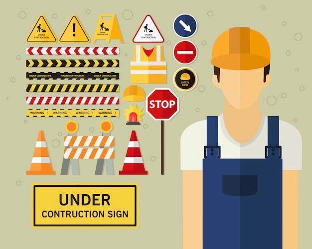 Sob fundo de conceito de sinal de construção