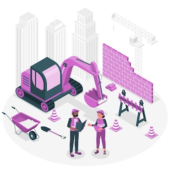 Sob ilustração do conceito de construção