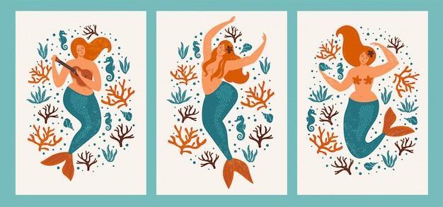 Sob o cartão do mar com sereia