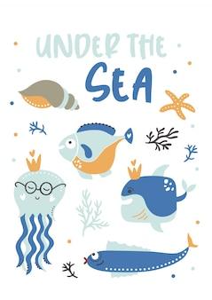 Sob o cartaz de crianças do mar.