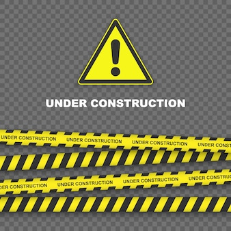 Sob o fundo de construção com bordas listradas pretas e amarelas