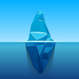 Sob o iceberg do oceano antártico da água.