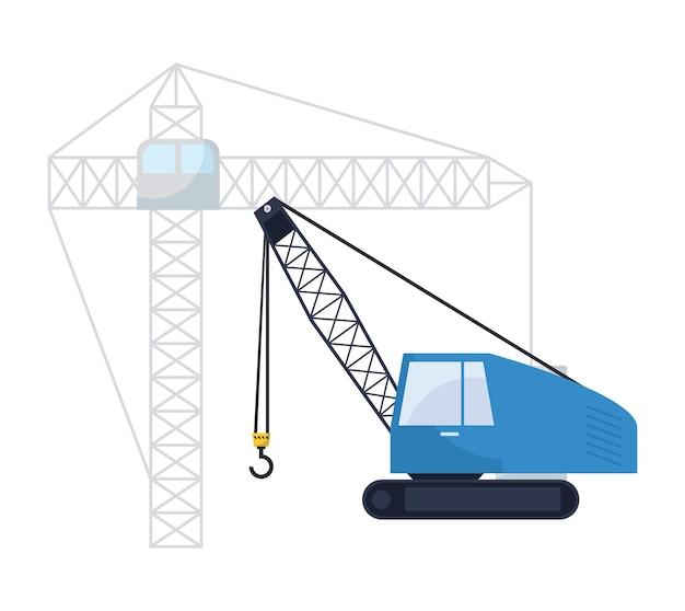 Sob o ícone de caminhão de guindaste de construção