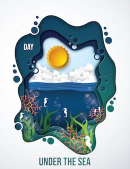 Sob o mar no tempo do dia