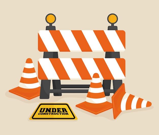 Sob o projeto da barreira de construção
