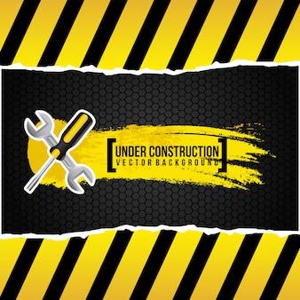Sob o projeto de construção sobre fundo preto