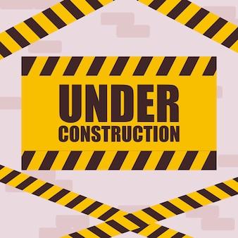 Sob o rótulo de construção com fita isolante