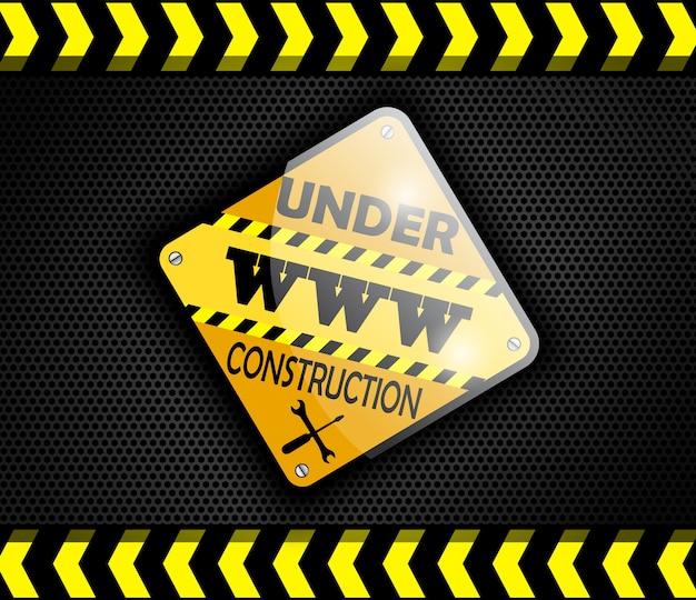 Sob o sinal da construção no preto do fundo.