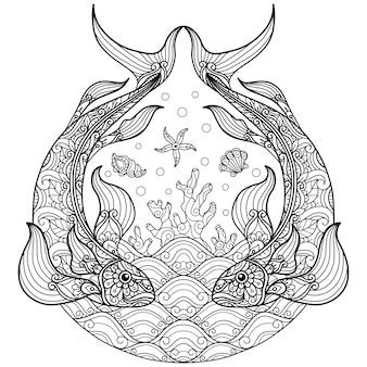 Sob peixes do mar. mão desenhada desenho ilustração para livro de colorir adulto.