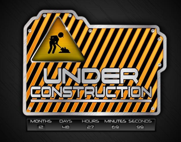 Sob placa de construção com sinal de trabalho em andamento