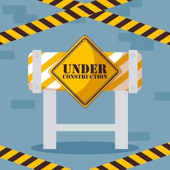 Sob rótulo de construção com cerca de barricada