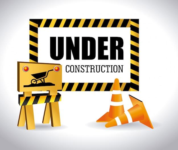 Sob signo de construção com cones