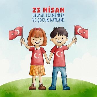 Soberania nacional e crianças de mãos dadas