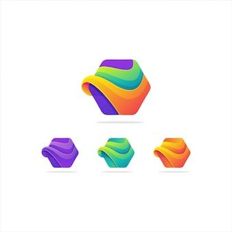 Soberbo logotipo abstrato gradiente