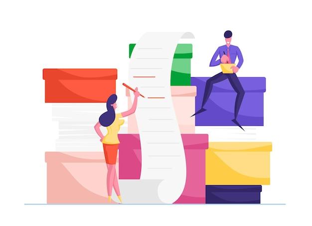 Sobrecarga de caracteres de funcionários de escritório no trabalho com o documentos