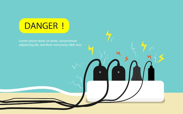 Sobrecarga plug na alimentação, cuidado e advertência de perigo de eletricidade