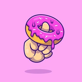 Sobremesa com ilustração do ícone dos desenhos animados da mão. conceito de ícone de lanche alimentar isolado. estilo flat cartoon