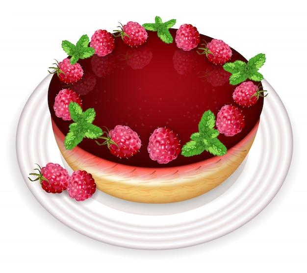 Sobremesa de bolo de framboesa