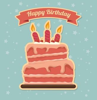 Sobremesa de bolo feliz aniversário