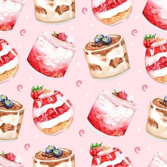 Sobremesa de bolos de morango bolo curto torta pintura em aquarela padrão