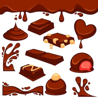 Sobremesa de chocolate e doces vector icons