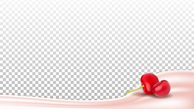Sobremesa de leite de iogurte com vetor de frutas cereja. nutrição de iogurte leitoso natural com vitamina berry natural. modelo de iogurte de produto para dieta com leite cremoso saboroso ilustração 3d realista