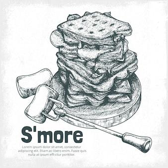 Sobremesa de s'mores desenhada à mão gravada ilustrada
