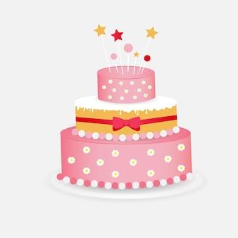 Sobremesa deliciosa colorida, bolo de aniversário com decorações brilhantes. design plano de bolo de aniversário.