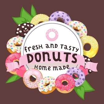 Sobremesa doce de donut vitrificada comida com chocolate de açúcar na ilustração de padaria