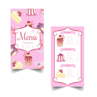 Sobremesa doce e modelo de menu aquarela de pastelaria