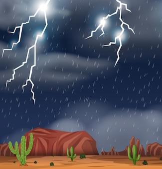 Sobremesa durante a cena de ilustração de tempestade