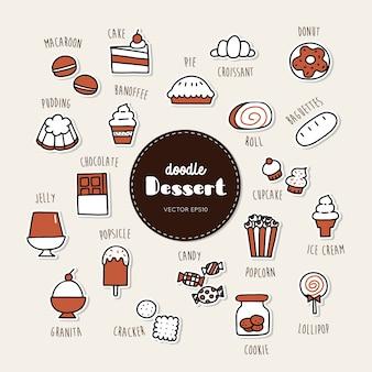 Sobremesa e doce mão desenhada doodle conjunto de ícones.