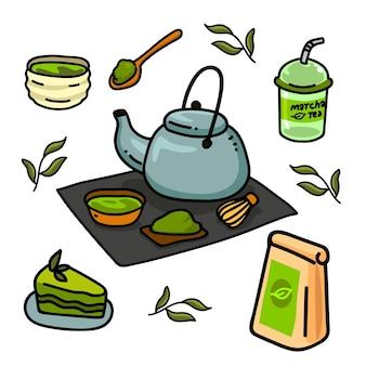 Sobremesa e saborosa coleção de chá matcha