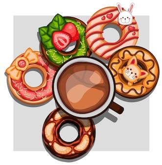 Sobremesa e xícara de café