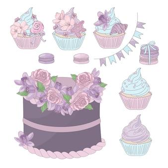 Sobremesa floral do aniversário dos doces do feriado