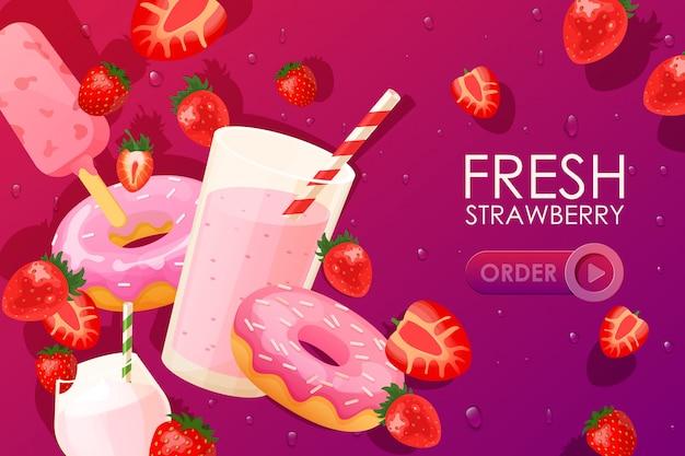 Sobremesa fresca de morango, bebida e comida, ilustração do site. cocktail doce de frutas baga, sorvete e donuts.